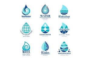 Water logos. Aqua water drops and