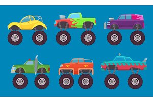 Monster truck cars. Automobiles with