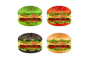 Colored burgers. Fast food black
