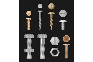 Metallic bolts and screws