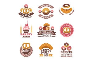 Bakery shop logo. Donuts cookies