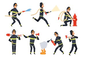 Fireman characters. Rescue