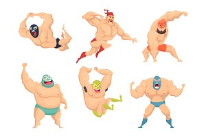 Lucha libre characters. Mexican