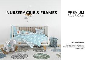 Nursery Crib Frame & Wall Set