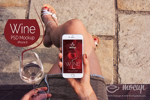 "iPhone 6 PSD Mockup Wine ""A"""