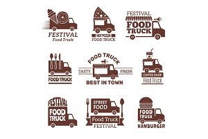 Food truck logo. Street festival van