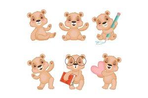 Teddy bear characters. Fluffy cute