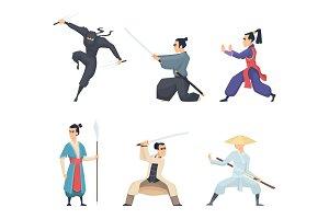 Asian fighter. Man holding katana