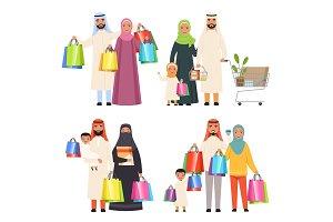 Saudi family. Market arabic male and