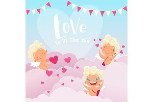 Cupid clouds background. Valentine
