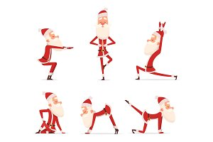 Santa yoga poses. Christmas winter