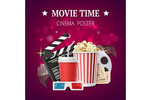 Movie poster. Cinema placard design