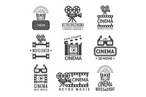 Video labels set. Cinema production
