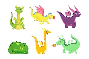 Fantasy dragons. Cute reptiles
