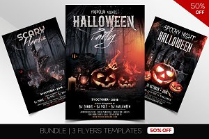BUNDLE 50% OFF - 3 Halloween Flyers