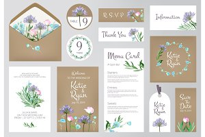 Floral invitation cards. Beautiful