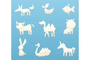 Shapes of animal clouds. Different