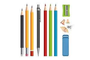Pencils set. Stationery tools