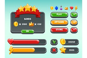 Games gui set. Mobile gaming user