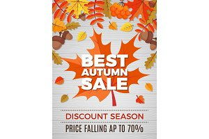 Autumn poster of sales. Orange and
