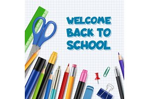 Back to school background. Pen with