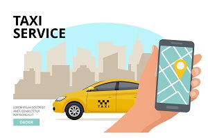 Taxi order. Hand holding smartphone