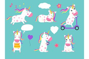 Cute vector unicorns of set. Cartoon