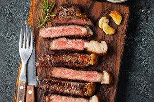 Sliced steak Striploin, grilled with