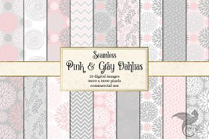 Pink and Gray Dahlia Patterns