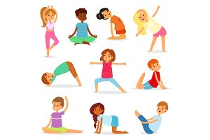 Yoga kids vector young child yogi