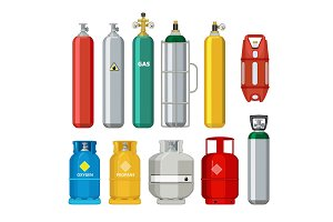 Gas cylinders icons. Petroleum