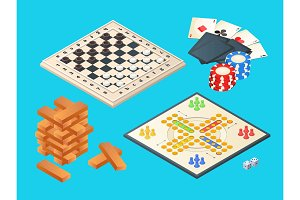 Board games. Vector isometric