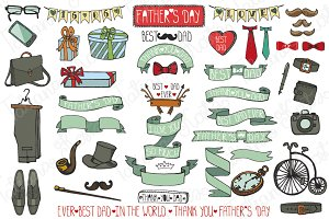 Fathers day doodle vintage male set