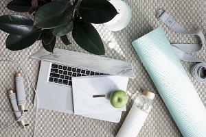 Yoga & Laptop Styled Stock Image