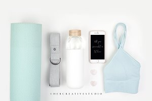 Yoga Styled Stock Image with iPhone