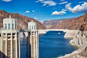 Hoover Dam Power Towers and Reservoi