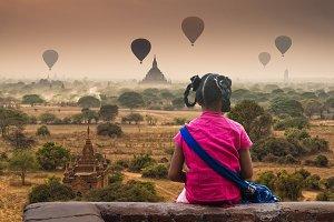 Back side of Burmese girl with tradi
