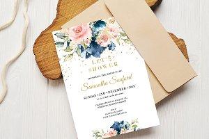 Navy and Blush Bridal Shower Invite