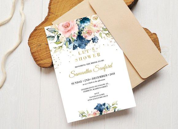 navy and blush bridal shower invite invitations