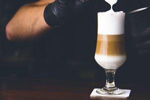 Barman making ice coffe.