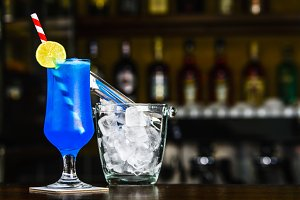 Blue Bird cocktail on the bar tender