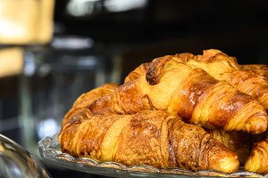 French crispy croissants closeup