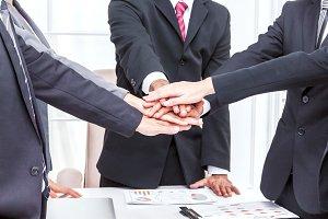 Business teamwork stack hands