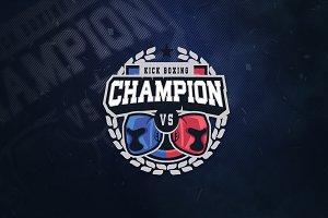 Kick Boxing Champion Sports Logo