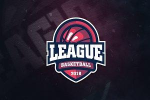 League Basketball Sports Logo