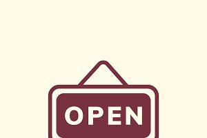 Open sign board icon vector