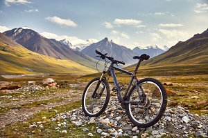 Mountain bicycle in the mountain