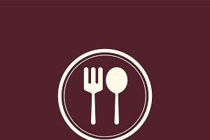 Spoon and fork cafe icon vector