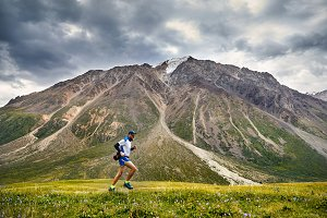 Trail running in the mountains