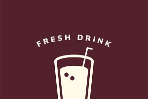Fresh drinks cafe logo vector